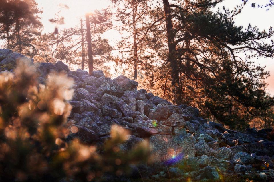 Sammallahdenmäki auringonlaskussa, kuva Rauman kaupunki